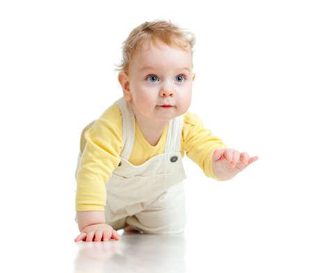 crawl: adorable boy crawls on all fours studio shot Stock Photo