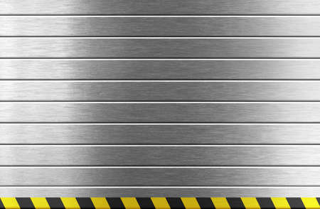 silver metal background with hazard stripes photo