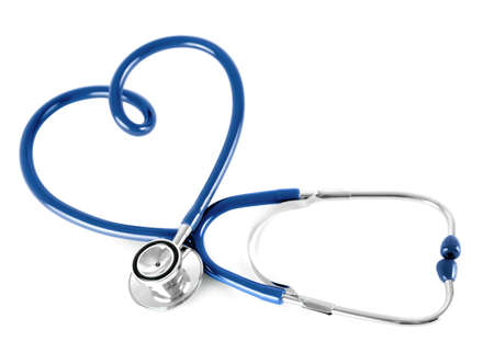 estetoscopio corazon: estetoscopio azul en forma de coraz�n, aislado en blanco