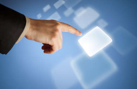 Hand pressing abstract virtual button on touchscreen Stock Photo - 12202004