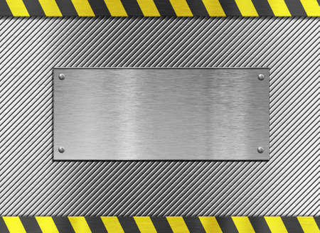 metal plate background with hazard stripes Stock Photo - 12609973