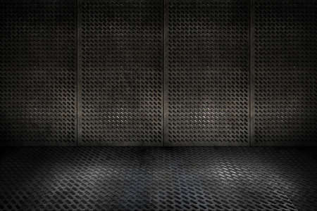 oxidado: grungy placas de metal industrial habitaci�n