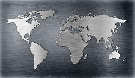 wall maps: mundo, mapa en relieve o la forma en la placa de metal