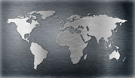 aluminium wallpaper: world map relief or shape on metal plate