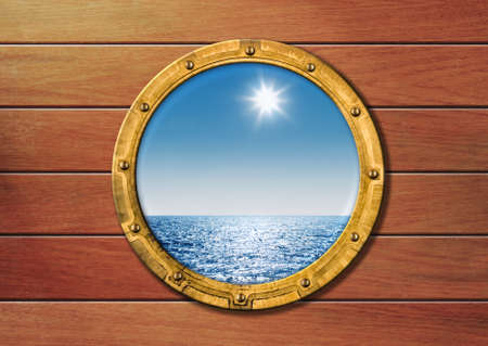navy blue: ship porthole Stock Photo