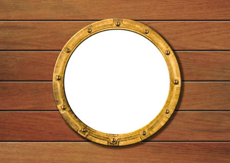 ship porthole on wooden wall isolated photo