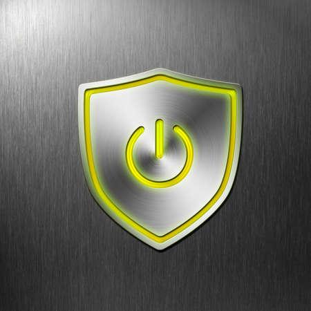 powerbutton: la energ�a del escudo bot�n en el fondo de aluminio