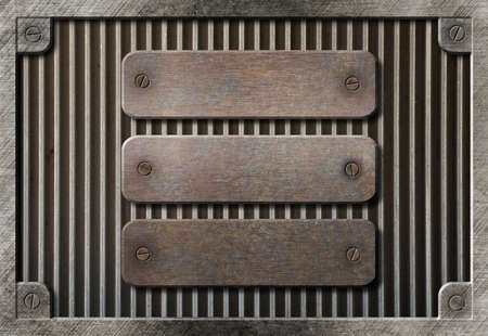 sheet metal: three rusty plates over metal grid background Stock Photo