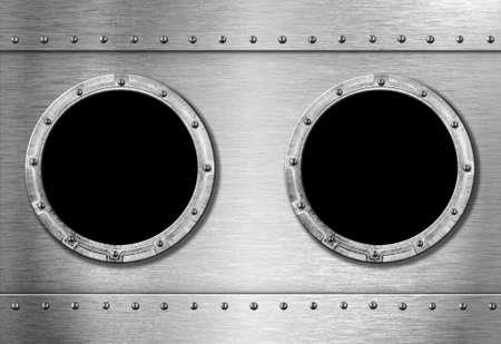 armour plating: two metal ship portholes