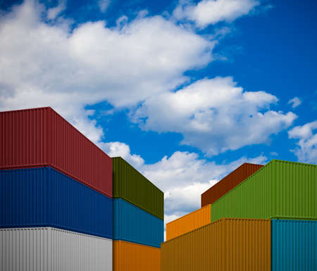 international trade: Stack of transportation containers