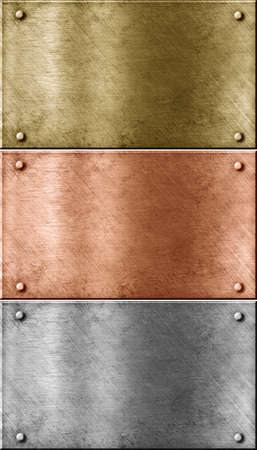 bronze: metal plates set including bronze  copper , gold  brass  and aluminum