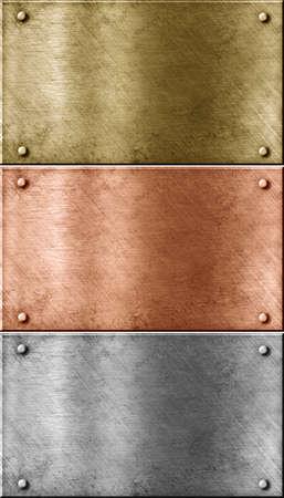 cobre: placas met�licas, lote que incluye cobre, bronce, lat�n y aluminio de oro