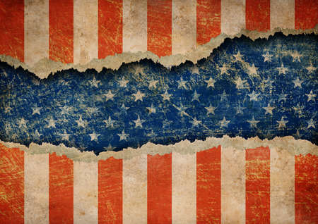 patriotic border: Grunge ripped paper USA flag pattern Stock Photo