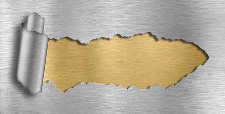 foil: metallo sfondo foro strappato