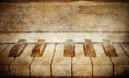 fortepian: zabytkowe pianino w tle
