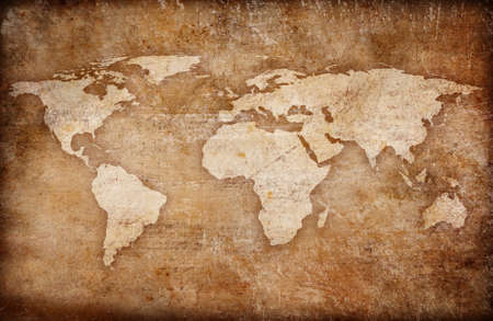 old rustic map: grunge world map background Stock Photo