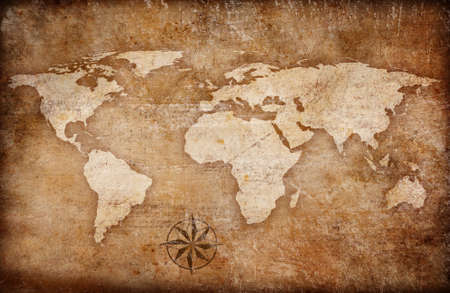 old rustic map: grunge world map background with rose compass