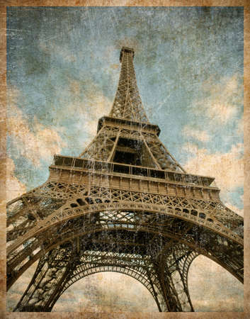vintage postcard: vintage toned postcard of Eiffel tower in Paris Stock Photo