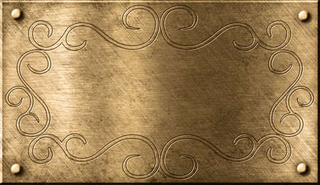 grunge brass plate with floral pattern photo