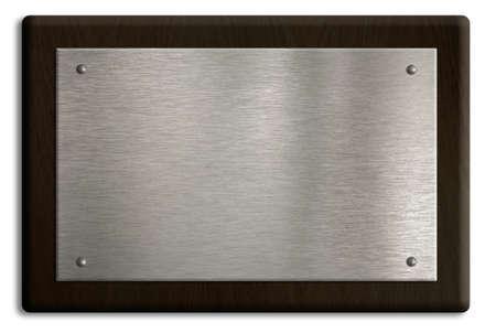 placa bacteriana: La placa de madera con placa de plata aislado en blanco.