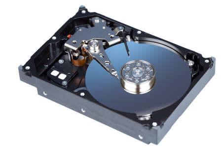 disassemled hard disc isolated on white photo
