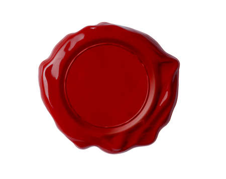 quality stamp: Red wax seal isolated on white