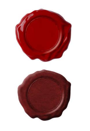 seal wax: Red wax seals set isolated on white Stock Photo