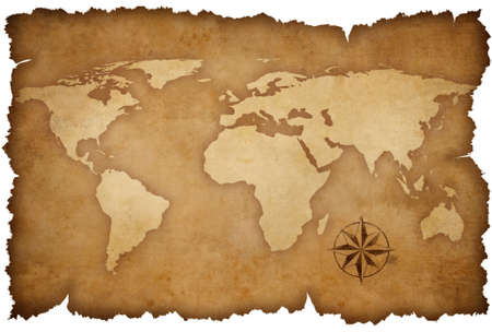 grunge world map background with rose compass photo