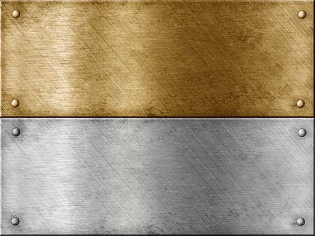 copper background: metal plates set including bronze (copper) or gold (brass) and steel