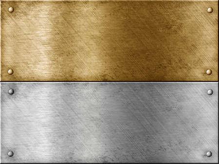 cobre: placas met�licas, lote que incluye el bronce (cobre) o de oro (lat�n) y acero