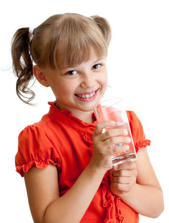 School girl portrait with water glass isolated photo