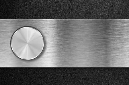 knob button on metal aluminum plate photo
