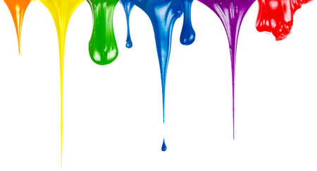 Paints dripping isolated on white photo