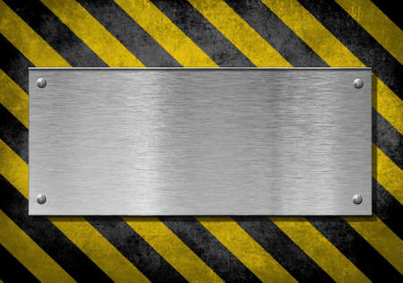 metal plate background with hazard stripes Stock Photo - 13068219