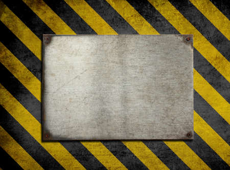 old metal plate background with hazard stripes Stock Photo - 13068218