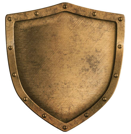 heraldic shield: aged brass or bronze metal shield isolated on white