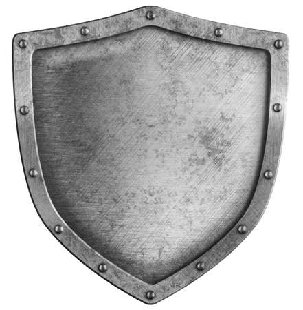 heraldic shield: aged metal shield isolated on white
