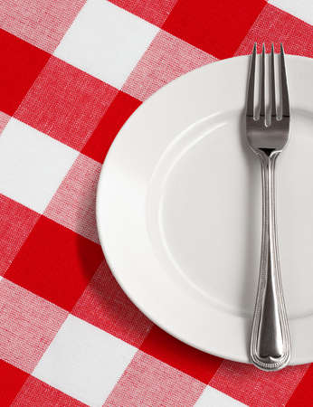 red gingham: white plate and fork on table with red checked tablecloth