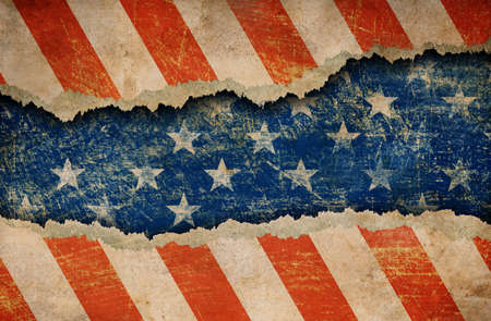 ripped: Grunge ripped paper USA flag pattern Stock Photo