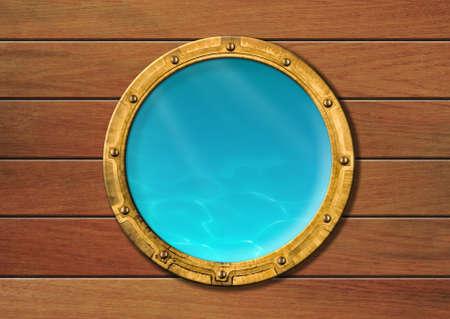 Schiff Bullauge mit Unterwasser-Blick