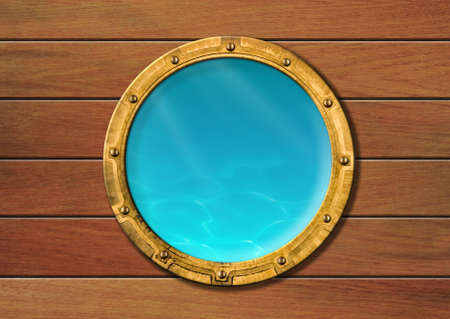 ship porthole with underwater view photo