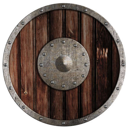 Old viking wooden shield isolated on white Stock Photo - 13402164