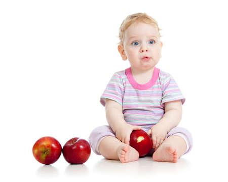 kid eating healthy food isolated photo