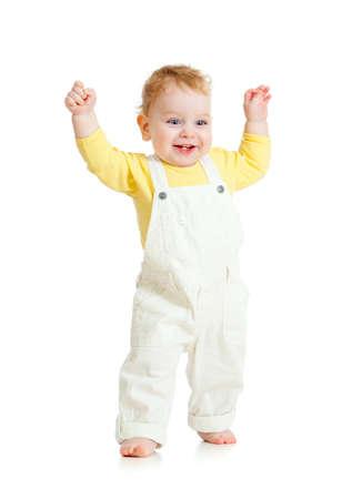 happy kid walking on white photo