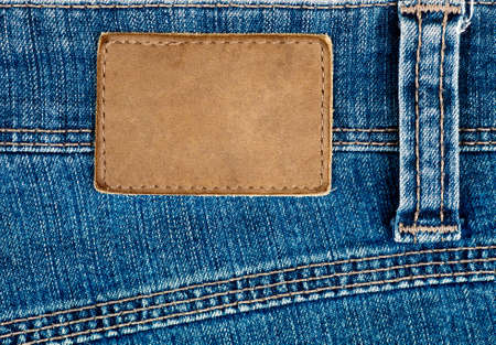 Blank leather jeans label photo