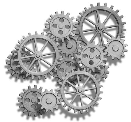 clockwork: abstract clockwork gears isolated on white Stock Photo