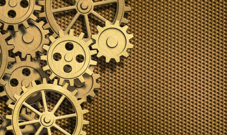 mechanical engineering: golden clockwork gears background