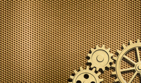 cogs and gears: golden background with few gears Stock Photo