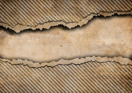 Grunge torn cardboard background with gray stripes photo