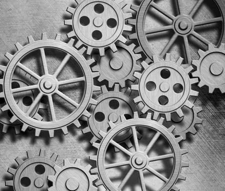 clockworks: clockwork gears metal background Stock Photo